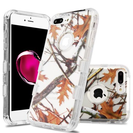 Apple iPhone 8 Plus, iPhone 7 Plus Phone Case Tuff Hybrid Shockproof Impact Rubber Dual Layer Hard Soft Protective Hard Case Cover Transparent Oak Camo Case for Apple iPhone 7 Plus /iPhone 8 Plus