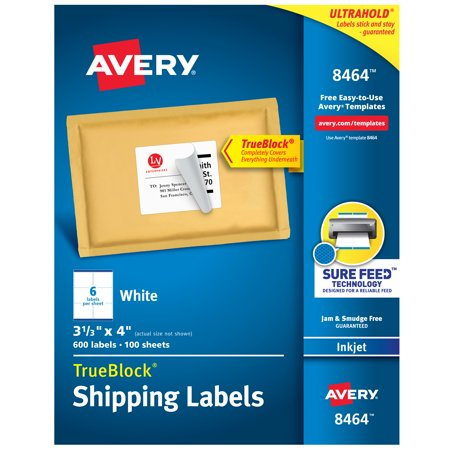 Avery Trueblock Shipping Labels Sure Feed Technology Permanent Adhesive 3 1 X 4 600 8464