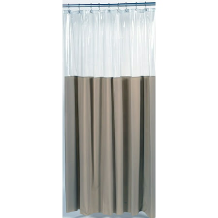Royal Bath Window Shower Curtain Or Liner With A Unique Clear Top That Allows Light In And Still Maintains Privacy Size 72X72 Color Linen