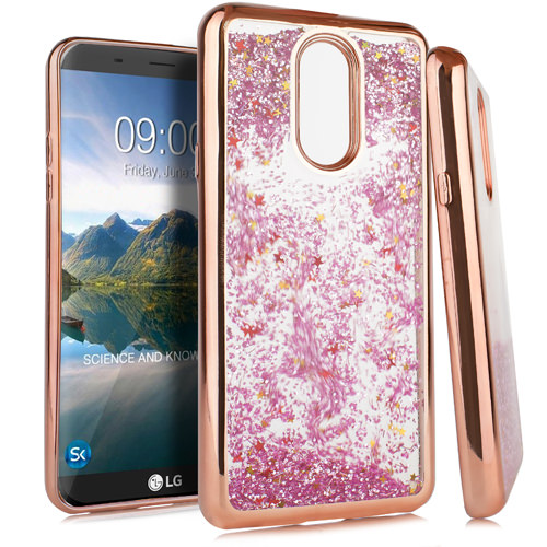 MUNDAZE Rose Gold Motion Glitter Chrome Case For LG Stylo 4 Phone