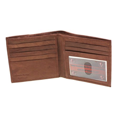 Mens Euro Hipster Wallet Genuine Leather Zipper Money Compartment 9 Card Slots