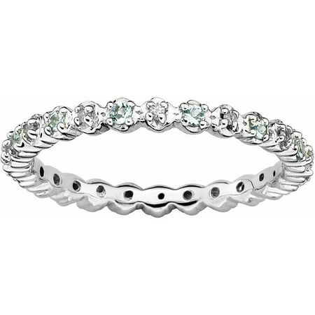 Sterling Silver Stackable Expressions Aquamarine & Diamond Ring