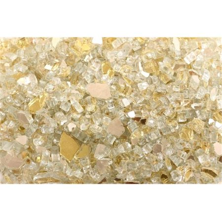 FireGlass Plus Q-GRR-10 Quarter Inch Gold Rush Reflective Fire Glass, 10 Pound Bag