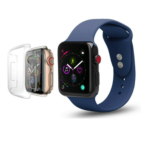 Apple Watch Replacement Bands 40mm w/Full Body Clear Hard Case Screen Protector, Soft Silicone Wristband for iWatch Apple Watch Series 4 - Peach - image 4 de 4