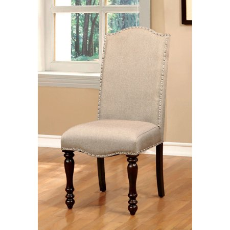 Furniture of America Korten Transitional Nailhead-Trimmed Dining Chair, Ivory, 2pk