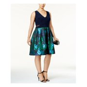 XSCAPE Womens Navy Floral Sleeveless V Neck Knee Length Fit + Flare Formal Dress Plus  Size: 20W
