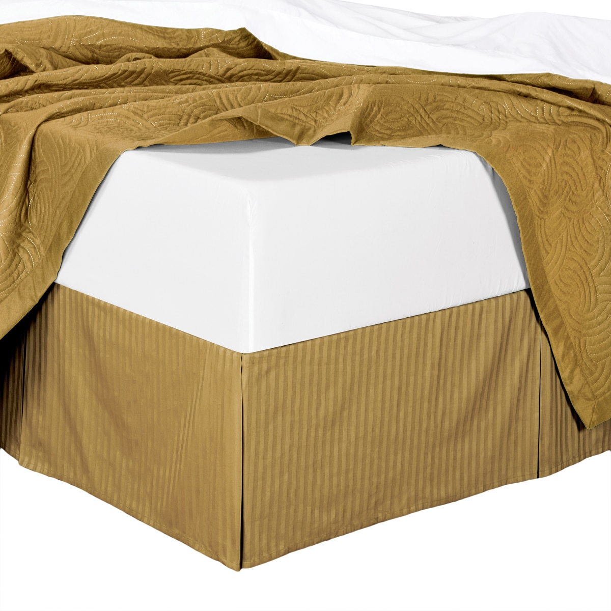 Bed Skirt 100% Cotton Damask Striped 300TC, Split Corner, 15-Inch Tailored Drop Pleated Dust Ruffle -White -Twin XL