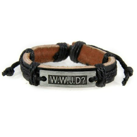 WWJD What Would Jesus Do Leather Bracelet Christian Scripture Jesus - In Jesus Name I Play Bracelet