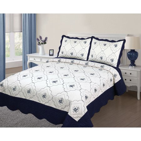 3PC Quilted Bedspread Cover Oversized Extra - Twin Size High Quality Embroidery Quilt - Navy blue ()