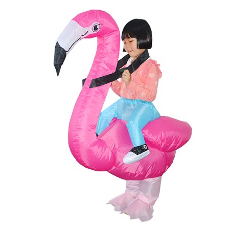 Flamingo Inflatable Costume Blow Up Inflatable Fancy Dress Cosplay Party Stage Performance Props for Children