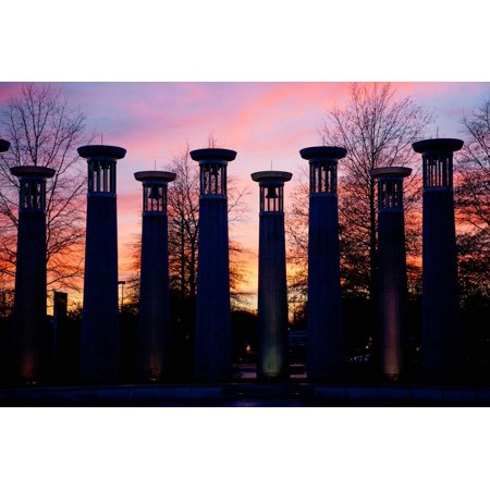 Colonnade in a park at sunset, 95 Bell Carillons, Bicentennial Mall State Park, Nashville, David... Print Wall (Sunset Mall Location)