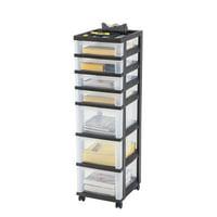 IRIS USA 7-Drawer Storage Cart with Organizer Top, Black
