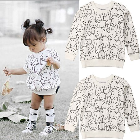 Toddler Baby Girl Boy Bunny Print Long Sleeve Sweatshirt Pullover Tops Coat Kids Easter Clothes White 1-2Years Bunny Kids Hoodie