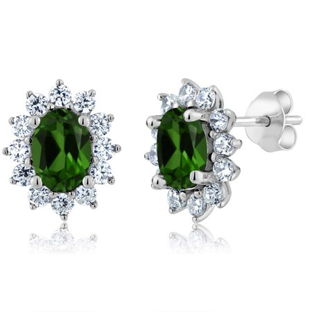 2.32 Ct Oval Green Chrome Diopside 925 Sterling Silver