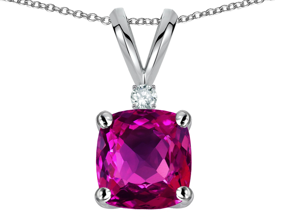 Star K 7mm Cushion Cut Simulated Pink Tourmaline Pendant Necklace in 14 kt White Gold by