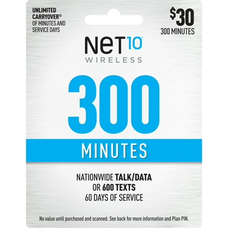 Net10 $30 300 Minutes Prepaid 60 days Plan (Email