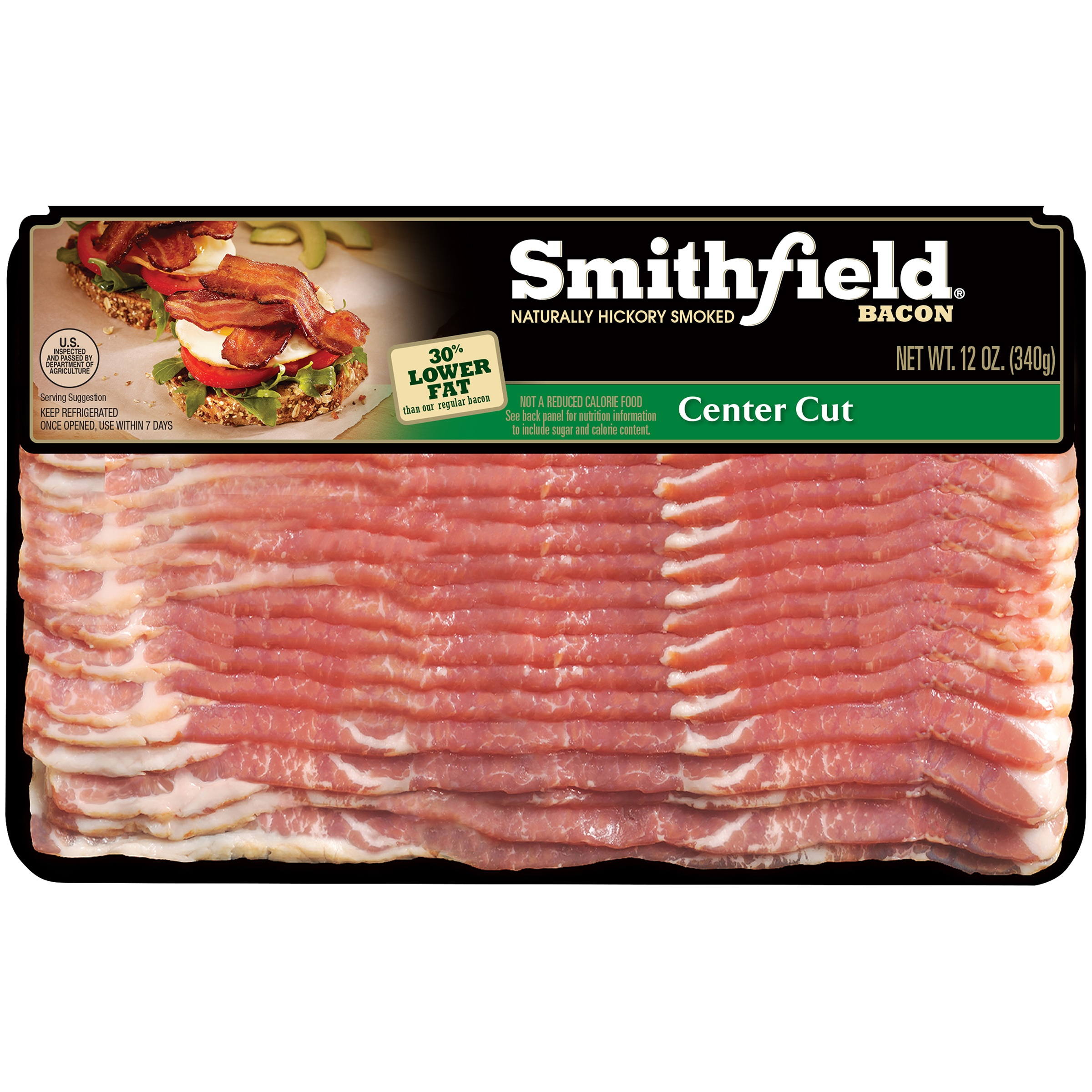Smithfield® Naturally Hickory Smoked Center Cut Bacon 12 oz. Pack