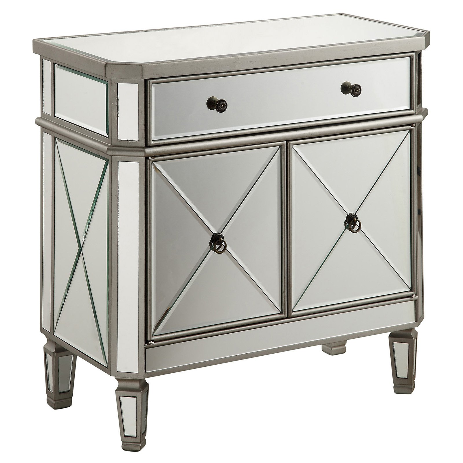 Elegant Lighting Danville 2 Door Mirrored Chest in Silver