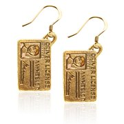 Whimsical Gifts 1789G-ER Drivers License Charm Earrings in Gold