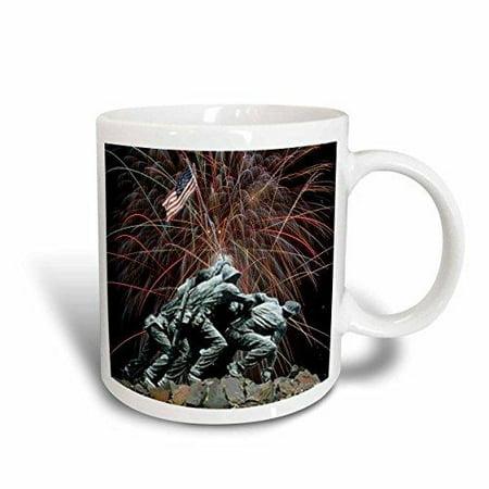 3dRose Marine Corp Memorial with Fireworks, Ceramic Mug, -