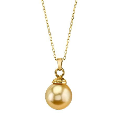 14K Gold 10mm Golden South Sea Cultured Pearl Hope Pendant Necklace