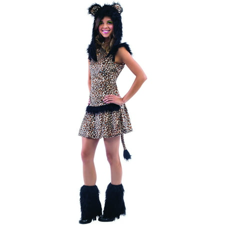Living Fiction Leopard Faux Fur Tween Halloween 4pc Teen Costume, Brown
