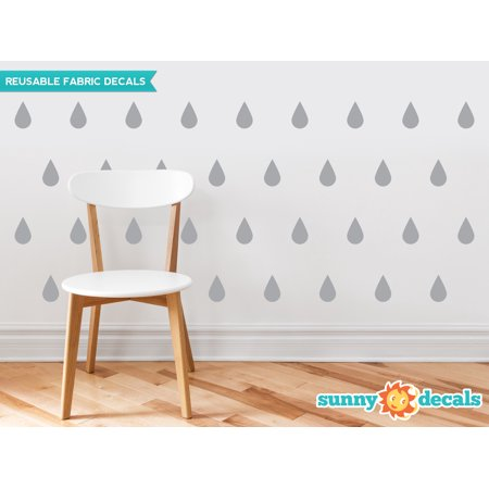 - Raindrop Fabric Wall Decals - Set of 40 Raindrops Wall Pattern Decals - 20 Color Options-Grey/