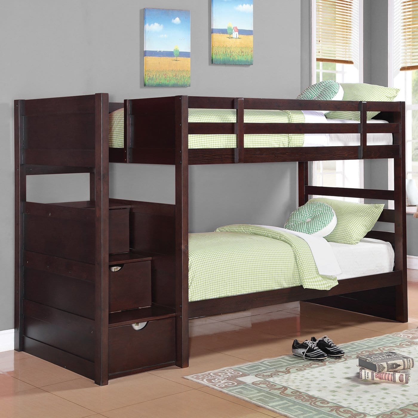 Coaster Elliott bunk bed, twin over twin in cappuccino finish with stairway drawers.