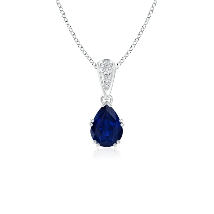 Vintage Pear Shaped Sapphire Necklace with Diamond Accents in Platinum (7x5mm Blue Sapphire) by Angara.com