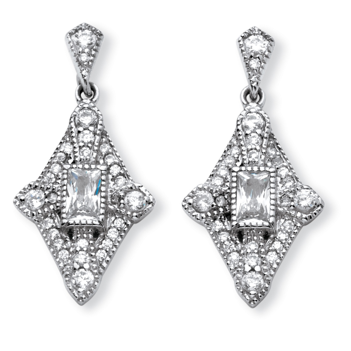 1.16 TCW Emerald-Cut Cubic Zirconia Art Deco-Inspired Earrings in Platinum Over Sterling Silver