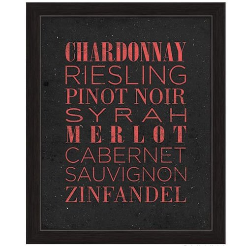 Click Wall Art List Of Wine Framed Textual Art