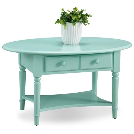 Bowery Hill Oval 2 Drawer Coffee Table with Shelf in Kiwi Green