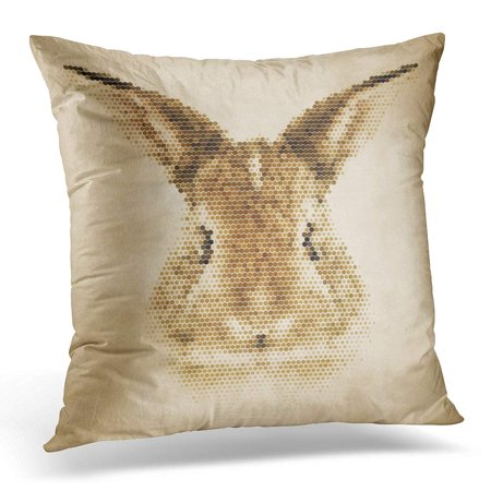 ECCOT Brown Rabbit Portrait Made of Geometrical Shapes Vintage Design Geometric Pillowcase Pillow Cover Cushion Case 18x18 inch](Geometric Portrait)