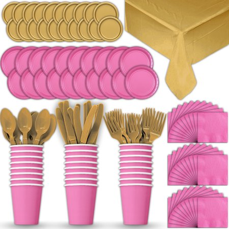 Gold Dinner Knife - Paper Tableware Set for 24 - Hot Pink & Gold - Dinner and Dessert Plates, Cups, Napkins, Cutlery (Spoons, Forks, Knives), and Tablecloths - Full Two-Tone Party Supplies Pack