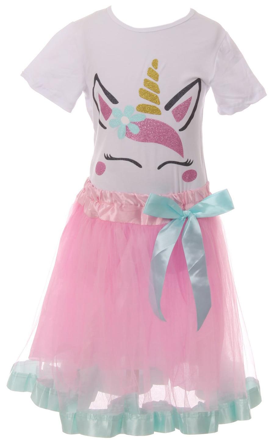 Little Girls 2 Pieces Skirt Set Holiday Party Birthday T-Shirt Top Dress Set