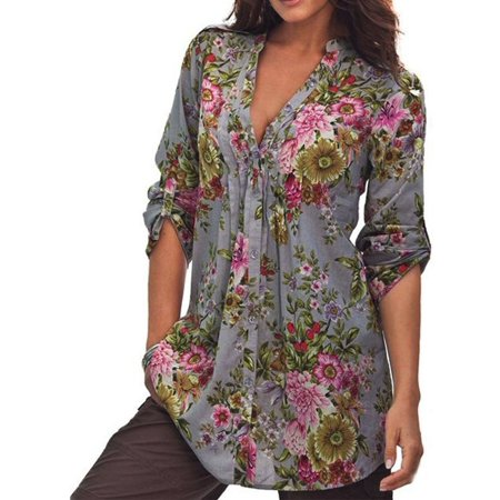 V-neck Vintage Tunic - Womail Women Vintage Floral Print V-neck Tunic Tops Women's Fashion Plus Size Tops