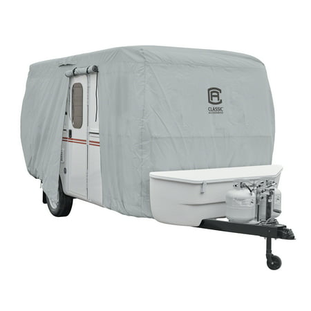 Classic Accessories OverDrive PermaPRO™ Deluxe Molded Fiberglass Travel Trailer Cover, Fits up to 8'-10' long RVs - Lightweight Ripstop Fabric with RV Cover, (Average Weight Of 24 Ft Travel Trailer)