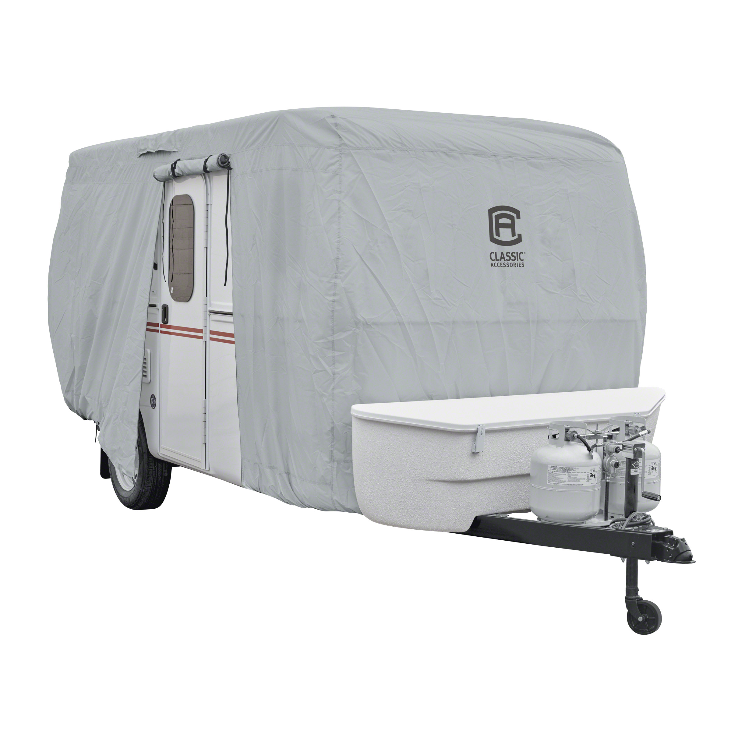 Classic Accessories OverDrive PermaPRO™ Deluxe Molded Fiberglass Travel Trailer Cover, Fits up to 8'-10' long RVs - Lightweight Ripstop Fabric with RV Cover (80-407-141001-RT)