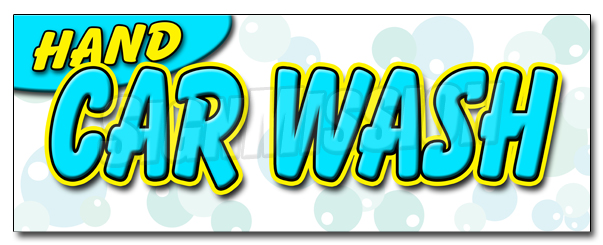 "48"" HAND CAR WASH DECAL sticker detail wax car wash clean auto service by SignMission"