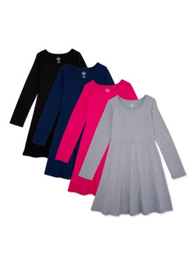 Wonder Nation Girls 4-18 & Plus Long Sleeve Play Dress, 4-Pack