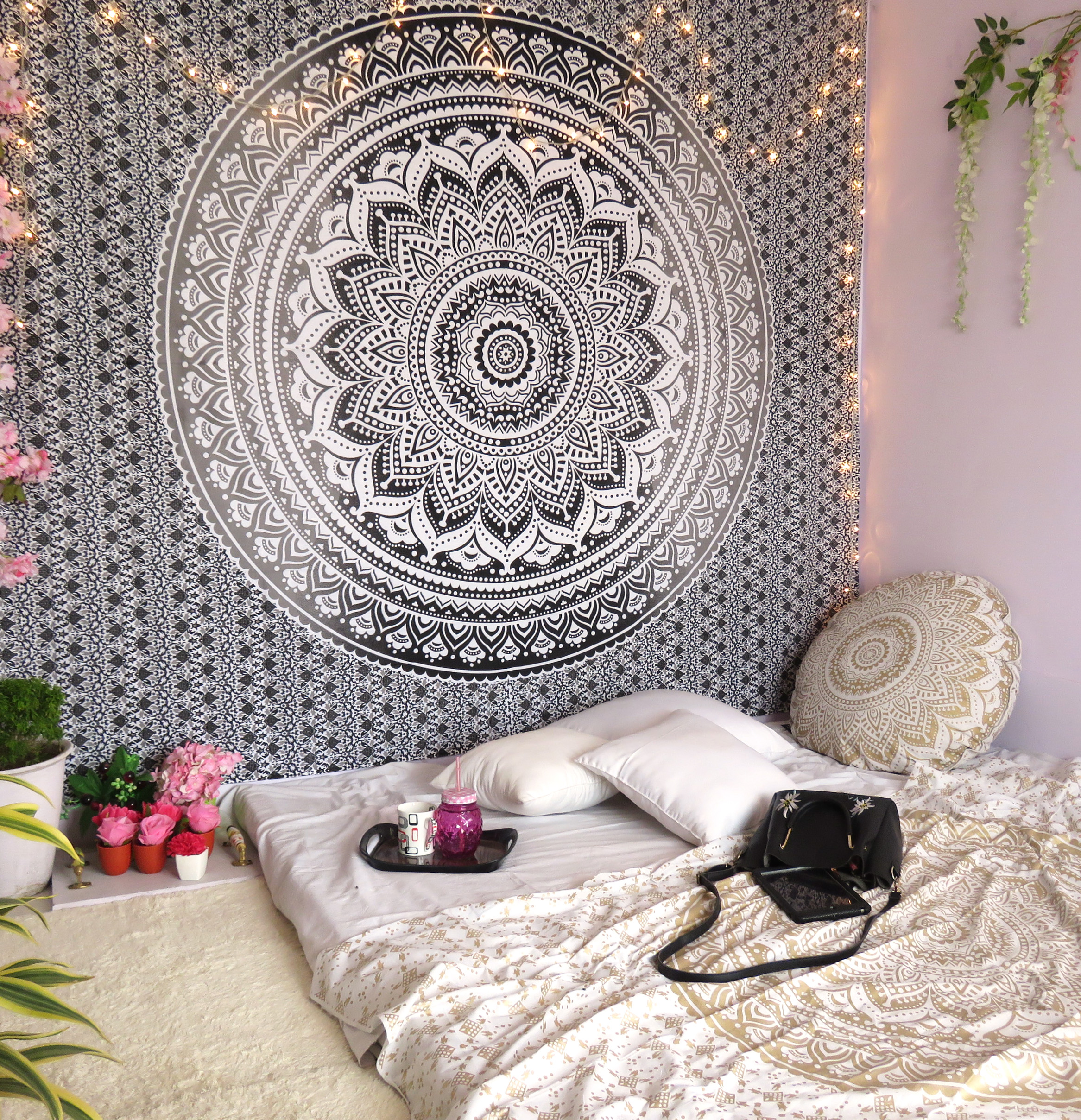 Gray Decorative Mandala Tapestry Boho Indian Wall Hanging College Dorm Tapestries Bohemian Hippie Queen Bedspread Beach... by Oussum