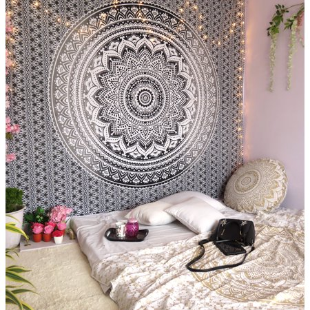Gray Decorative Mandala Tapestry Boho Indian Wall Hanging College Dorm Tapestries Bohemian Hippie Queen Bedspread Beach Throw Outdoor Picnic Blanket Online ()