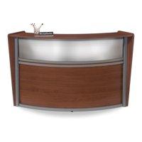 Office Furniture Marque Series Plexi Single-Unit Curved Silver melamine frame self edge Reception Desk Station, Cherry