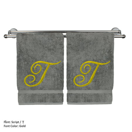 Monogrammed Hand Towel, Personalized Gift, 16 x 30 Inches - Set of 2 - Gold Embroidered Towel - Extra Absorbent 100% Turkish Cotton - Soft Terry Finish - For Bathroom,