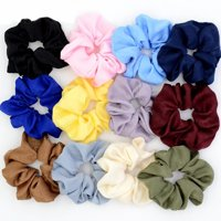 Fascigirl 12Pcs Hair Ties No-damage Soft Velvet Solid Color Ponytail Holder Hair Elastic Hair Scrunchies Hair Bands Ropes Hair Accessories for Women Ladies Girls, 12Pcs/Pack