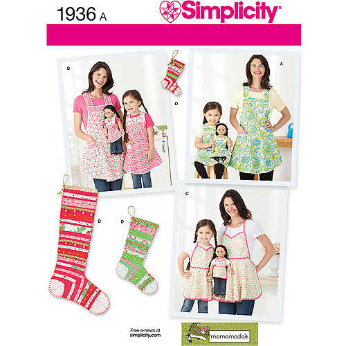 Simplicity Pattern Child's and Misses' Aprons, (S-L, S-L)