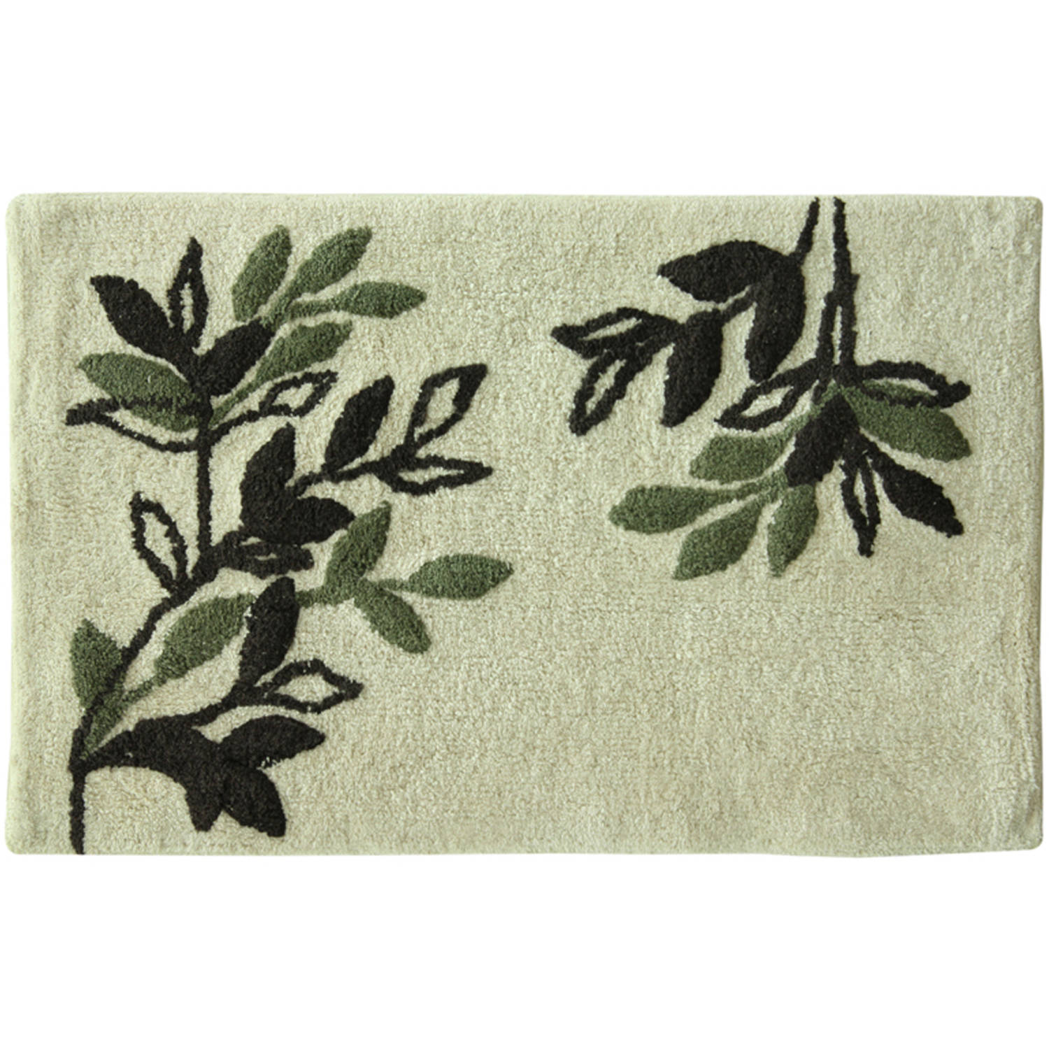 "Bacova Guild Autumn Leaves Plush cotton yarn dye 20"" x 30"" Cream Bath Rug"