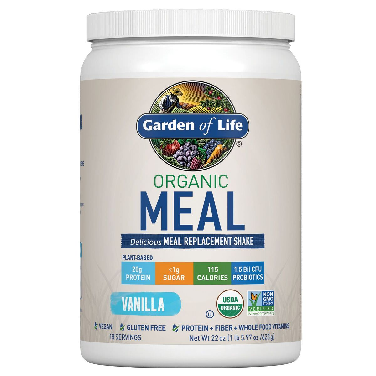Garden of Life Organic Meal Replacement Powder, Vanilla, 1.4 Lb