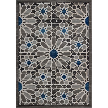 Beautiful Super Soft Modern Indoor Vincenza Collection Area Rug Carpet for Bedroom Living Room Dining Room in Dark Grey-Dark Blue, 5x7 (5'3