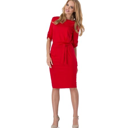 Womens Elegant Retro 3/4 Sleeve Tunic Sheath Belted Casual Party Bodycon Sheath Dress